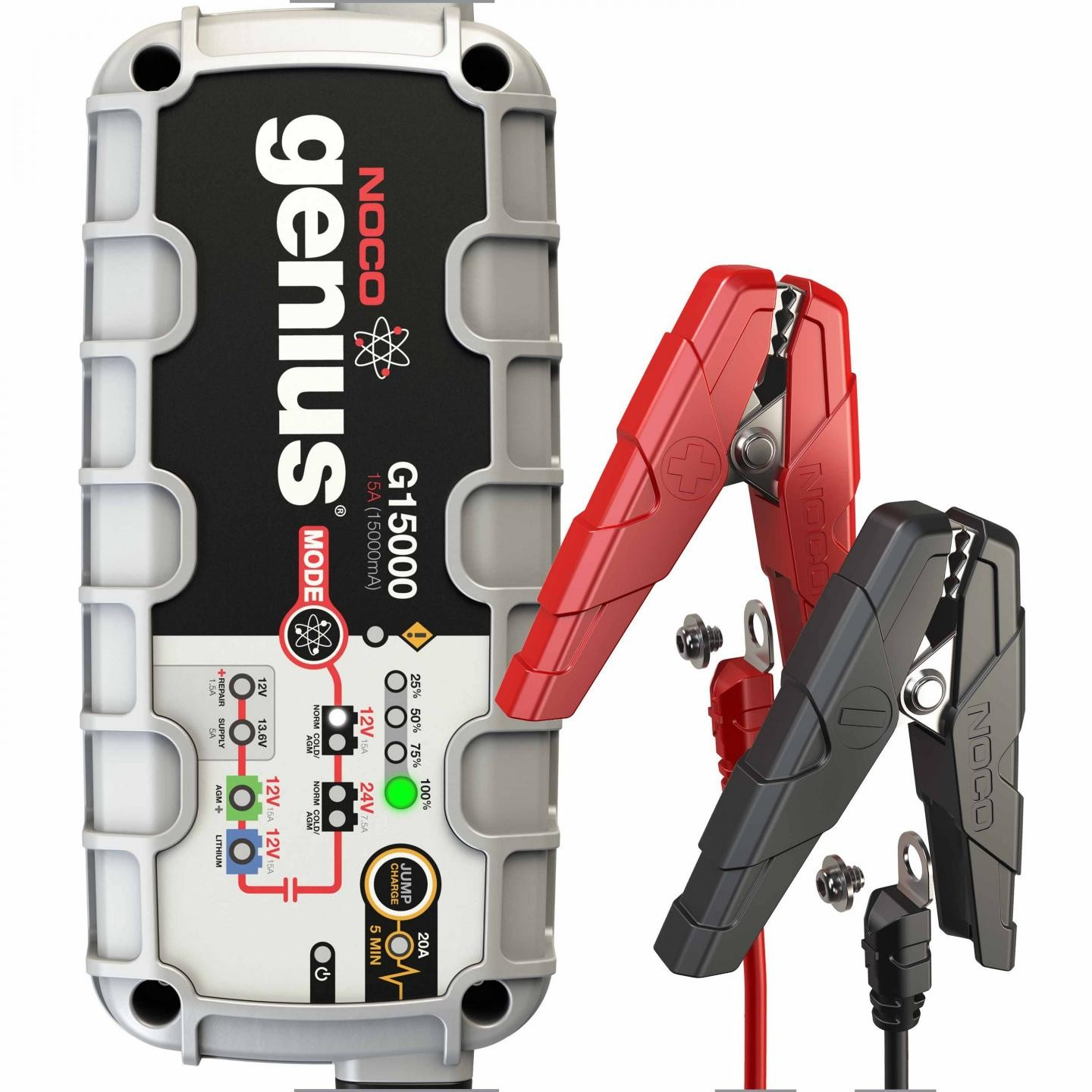 Noco 15a Battery Charger With Engine Start G15000 Multiple 12v Batteries In Parallel To Increase The Amp Rating Diagram 24v Ultrasafe Jumpcharge
