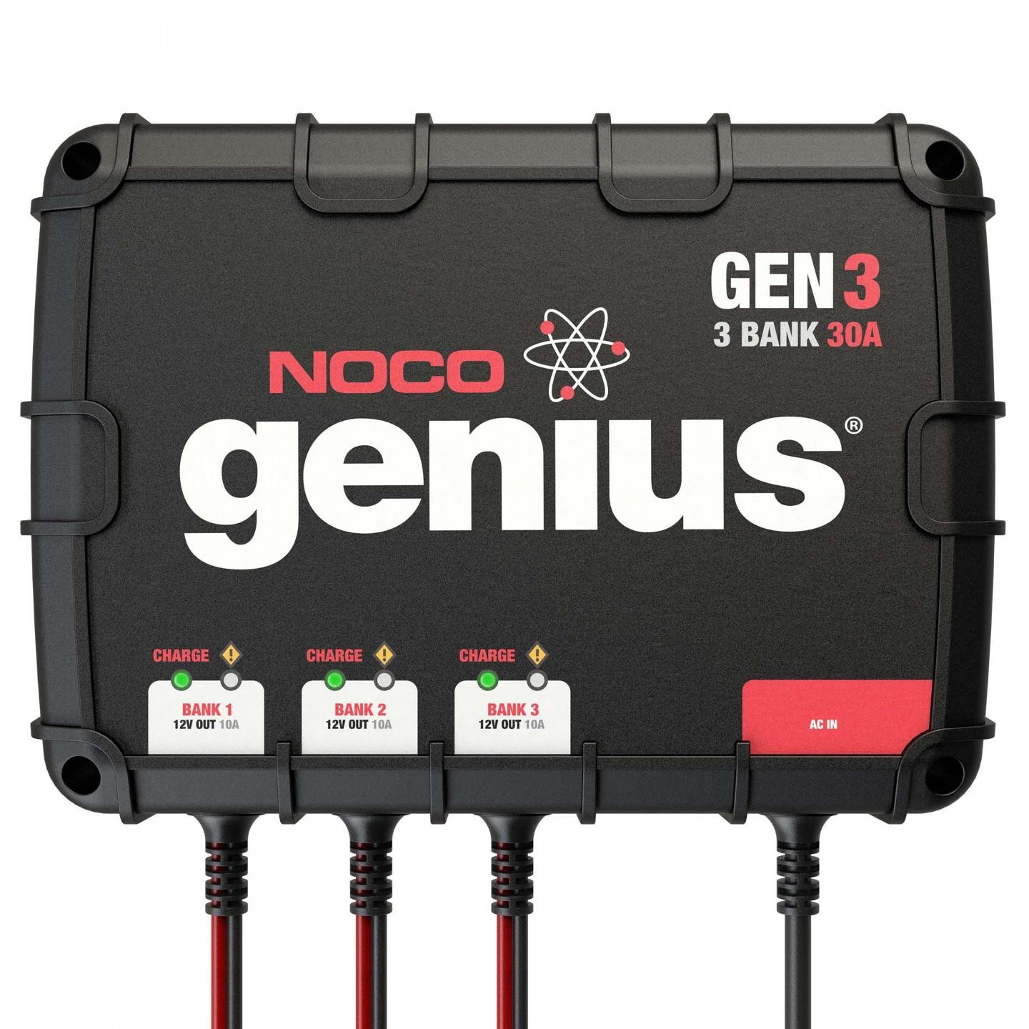 noco - 3-bank 30a on-board battery charger