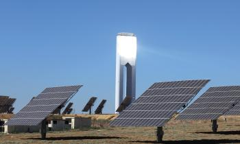 Sunlight making contact with a solar power tower.