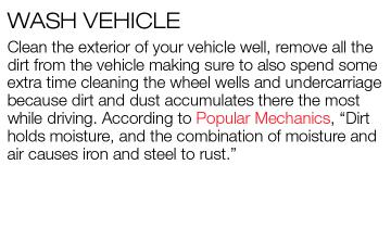 Brief paragraph about washing your vehicle before storing your vehicle for the winter.