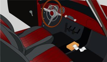 Fabric softener sheets on the floor of a Porsche 356 to repel any pests while the vehicle is stored for the winter.