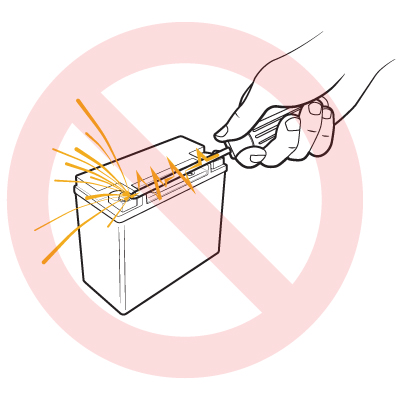 Warning: Be Careful Not To Touch Metal Tools Or Objects To Battery Terminals